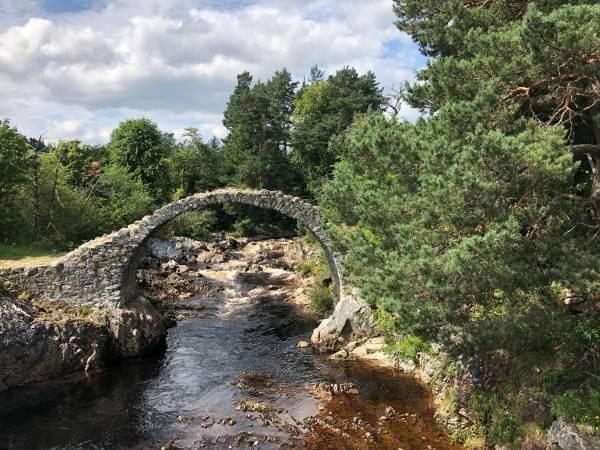 Älteste Steinbrücke der Highlands in Carrbridge von 1717. Das moorige Wasser ist sehr rein und dient auch der Whisky-Herstellung